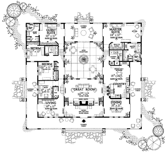 Dream House Plan - Build a House with a Courtyard