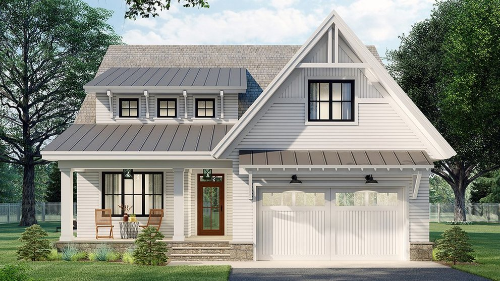 Practical and Cool: 1.5 Story House Plans
