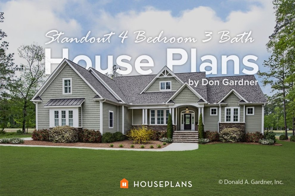 Standout 4 Bedroom 3 Bath House Plans by Don Gardner