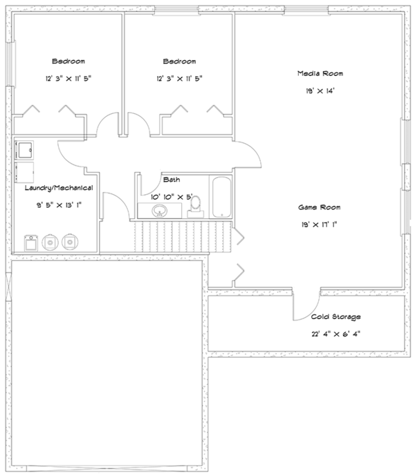 Ranch Floor Plan - Lower Floor Plan Plan #1060-16