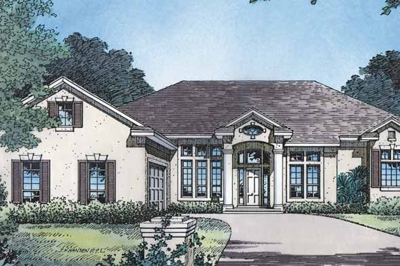 Classical Exterior - Front Elevation Plan #417-529