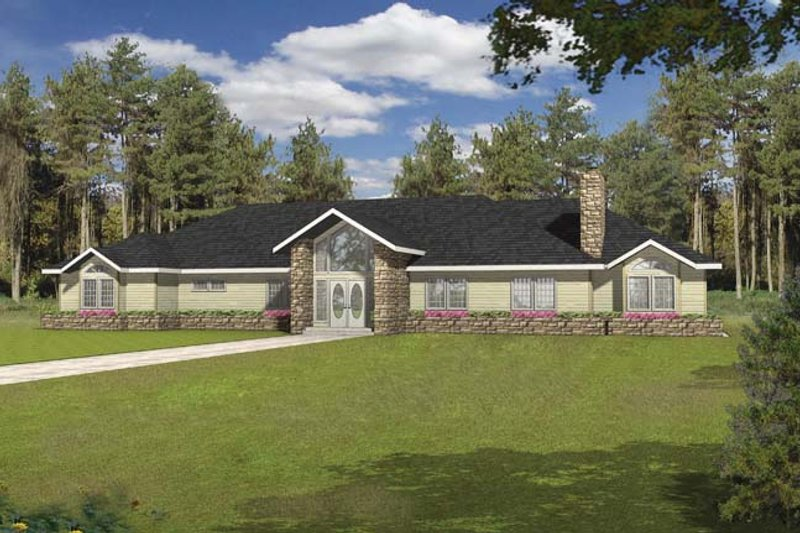 Ranch Exterior - Front Elevation Plan #117-866