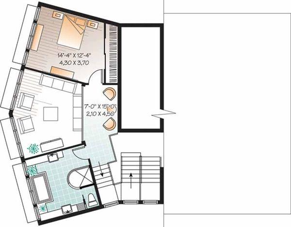 Contemporary Floor Plan - Upper Floor Plan Plan #23-2460