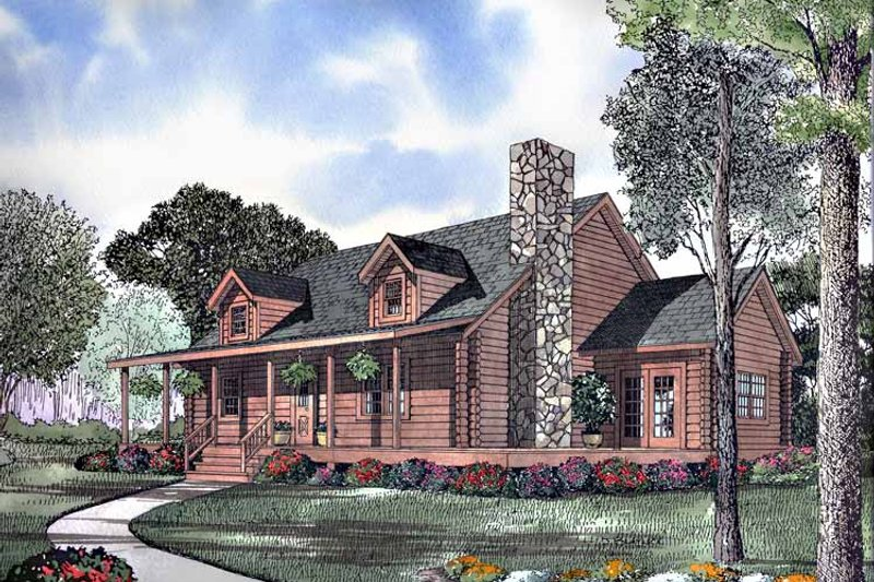 Log Exterior - Front Elevation Plan #17-2990