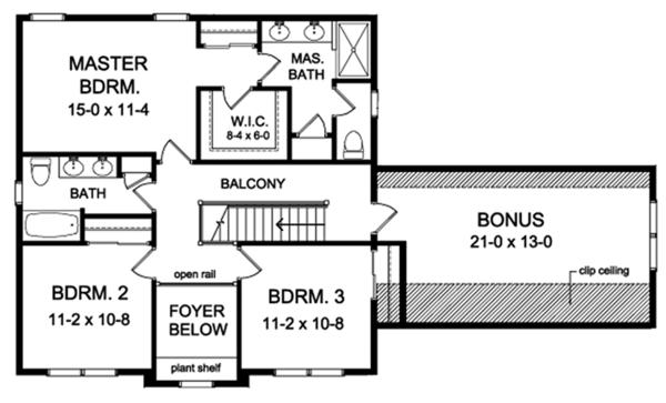 Traditional Floor Plan - Upper Floor Plan Plan #1010-143