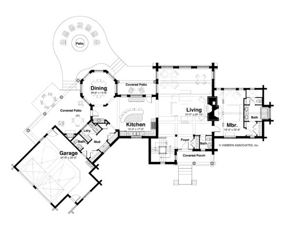 Home Plan - Log Floor Plan - Main Floor Plan #928-258
