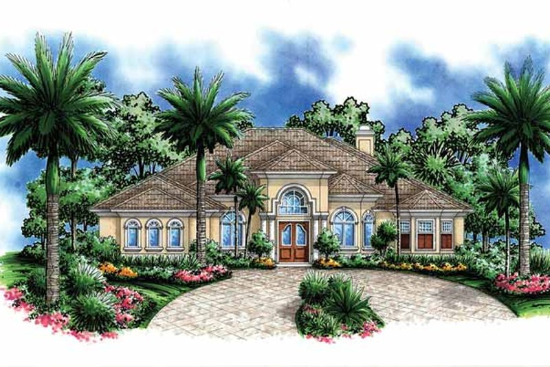 Mediterranean Exterior - Front Elevation Plan #1017-51