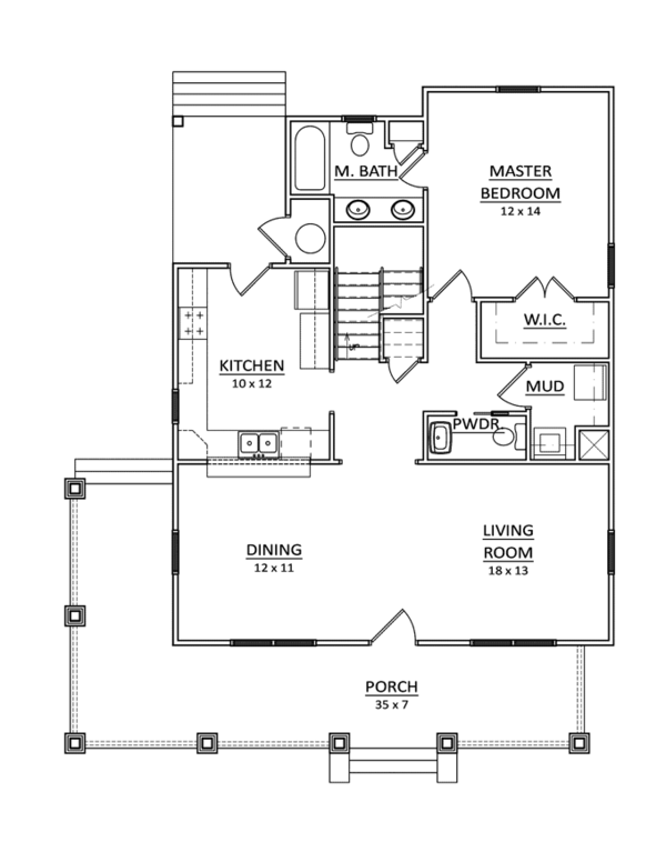 Craftsman Floor Plan - Main Floor Plan Plan #936-9