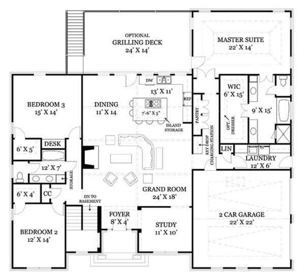 Colonial Floor Plan - Main Floor Plan Plan #119-415