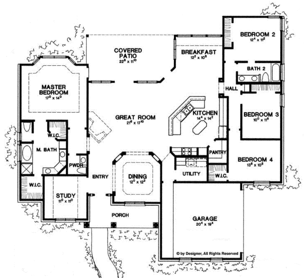 Ranch style house plan 4 beds 2 5 baths 2500 sq ft plan House plans 2500 sq ft one story