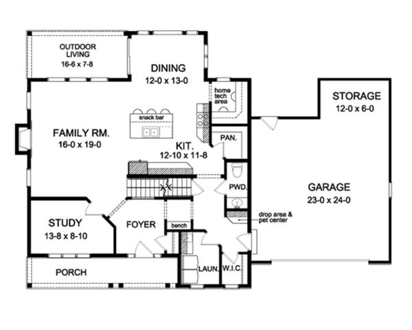 Colonial Floor Plan - Main Floor Plan Plan #1010-58