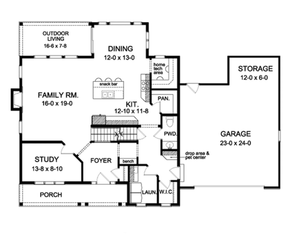 Colonial Floor Plan - Main Floor Plan Plan #1010-58