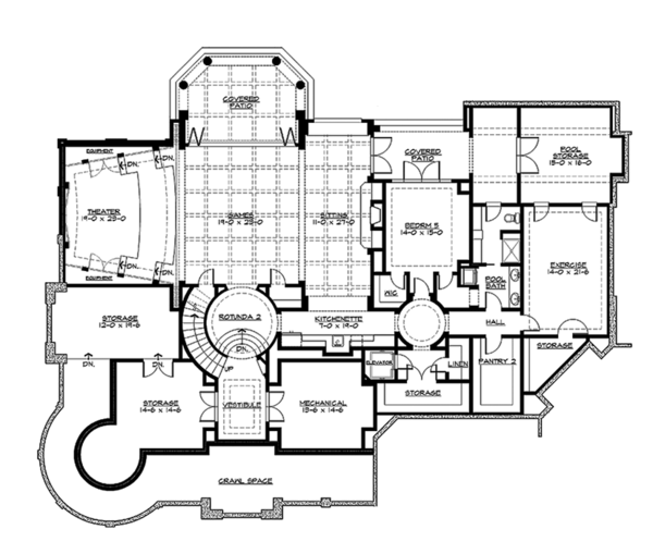 Craftsman Floor Plan - Lower Floor Plan Plan #132-565