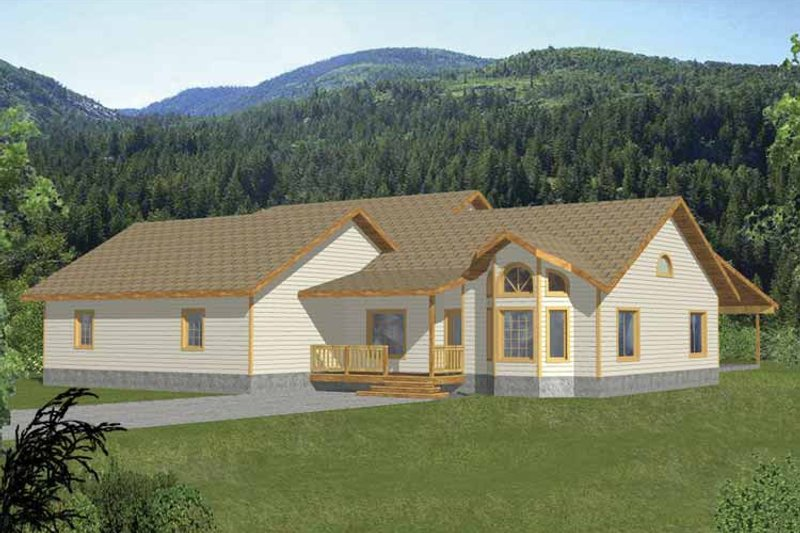 Ranch Exterior - Front Elevation Plan #117-815