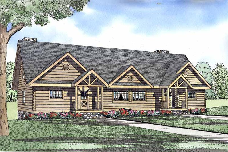 Log Exterior - Front Elevation Plan #17-3168