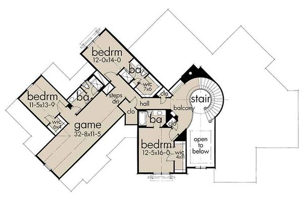 Country Floor Plan - Upper Floor Plan Plan #120-250