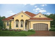Mediterranean Style House Plan - 3 Beds 2 Baths 1555 Sq/Ft Plan #938-22 Exterior - Front Elevation
