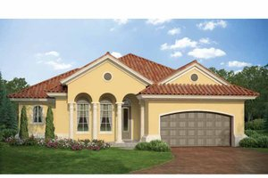 Mediterranean Exterior - Front Elevation Plan #938-22