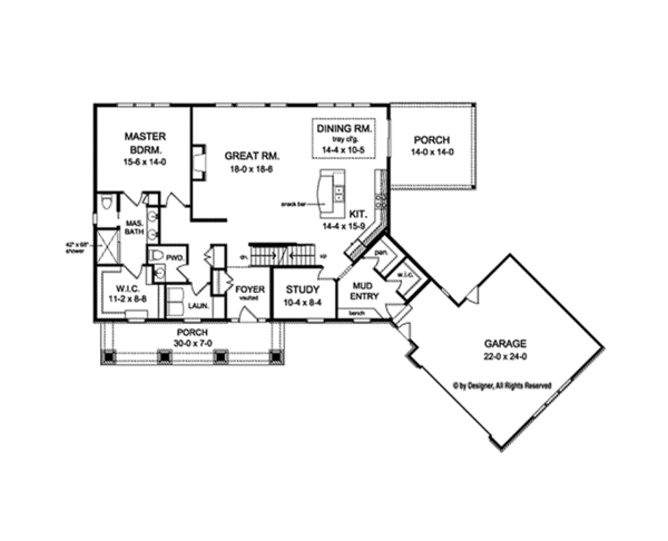 Craftsman Floor Plan - Main Floor Plan Plan #1010-110