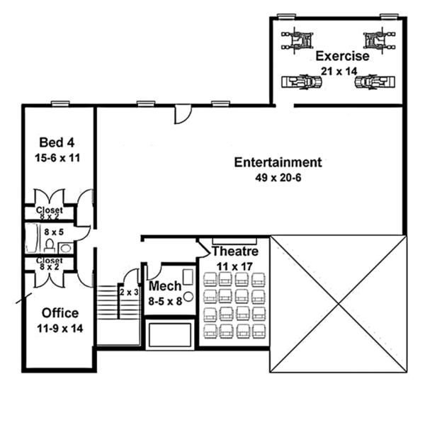 Colonial Floor Plan - Lower Floor Plan Plan #119-415
