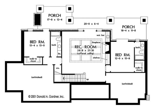 Dream House Plan - European Floor Plan - Lower Floor Plan #929-975