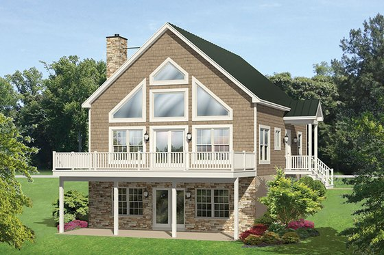 Cabin Exterior - Rear Elevation Plan #1010-148
