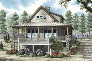 Architectural House Design - Cabin Exterior - Front Elevation Plan #17-3303