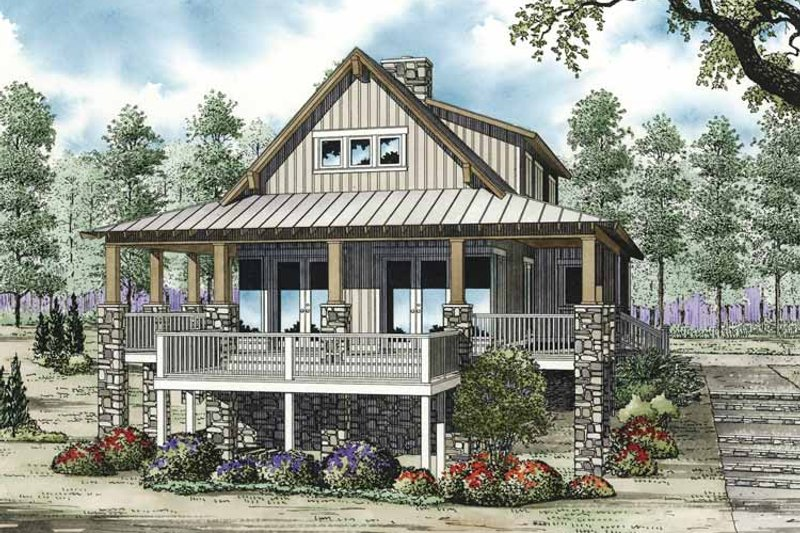 Cabin Exterior - Front Elevation Plan #17-3303