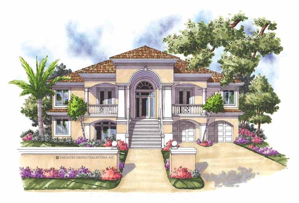 Mediterranean style house plan 3 beds 3 baths 2494 sq ft for Mediterranean house plans with basement