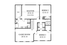 Traditional Floor Plan - Upper Floor Plan Plan #1053-50