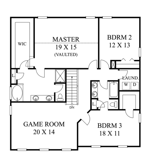 Traditional Floor Plan - Upper Floor Plan Plan #1053-50