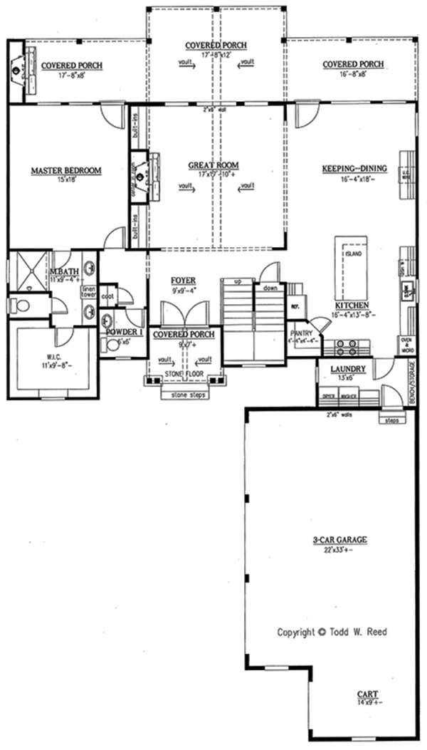 Country Floor Plan - Main Floor Plan Plan #437-80