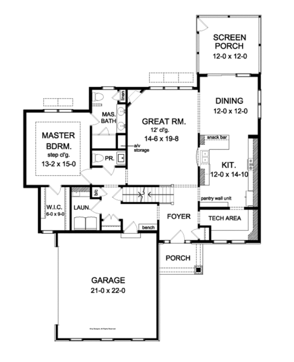 Country Floor Plan - Main Floor Plan Plan #1010-79
