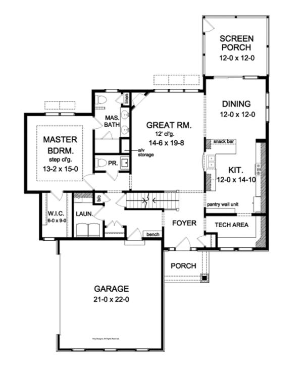 Country Floor Plan - Main Floor Plan Plan #1010-79