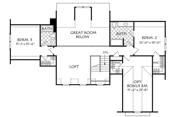 Colonial Floor Plan - Upper Floor Plan Plan #927-969