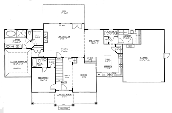 Dream House Plan - Farmhouse Floor Plan - Main Floor Plan #437-78