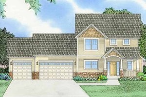 Architectural House Design - Prairie Exterior - Front Elevation Plan #981-12