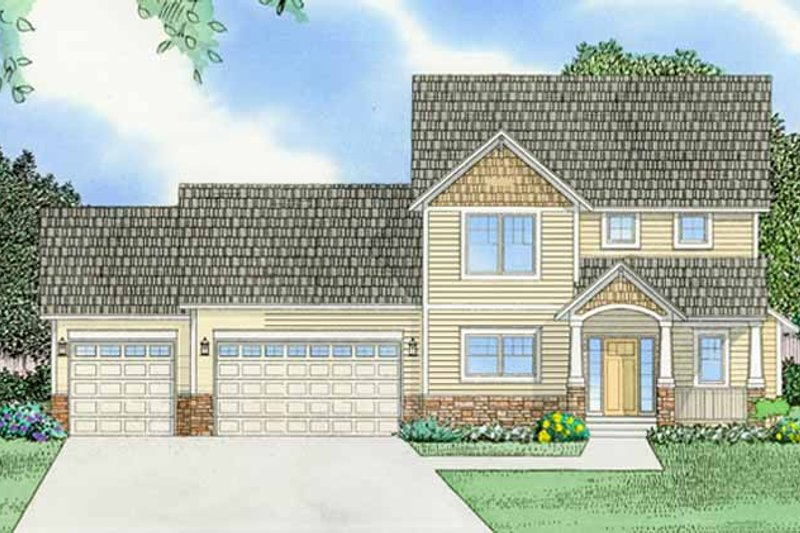 Prairie Exterior - Front Elevation Plan #981-12