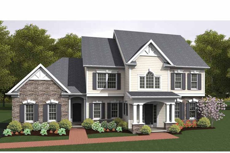 Front Elevation Colonial : Colonial style house plan beds baths sq ft