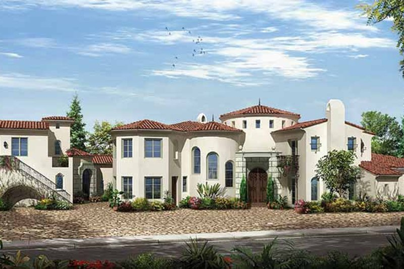 Mediterranean Exterior - Front Elevation Plan #944-2 - Houseplans.com