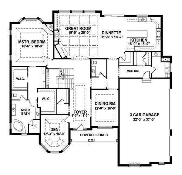 House Plan Design - European Floor Plan - Main Floor Plan #1057-2