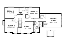 Colonial Floor Plan - Upper Floor Plan Plan #1010-53