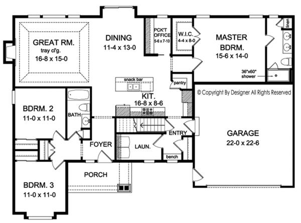 House Plan Design - Ranch Floor Plan - Main Floor Plan #1010-189