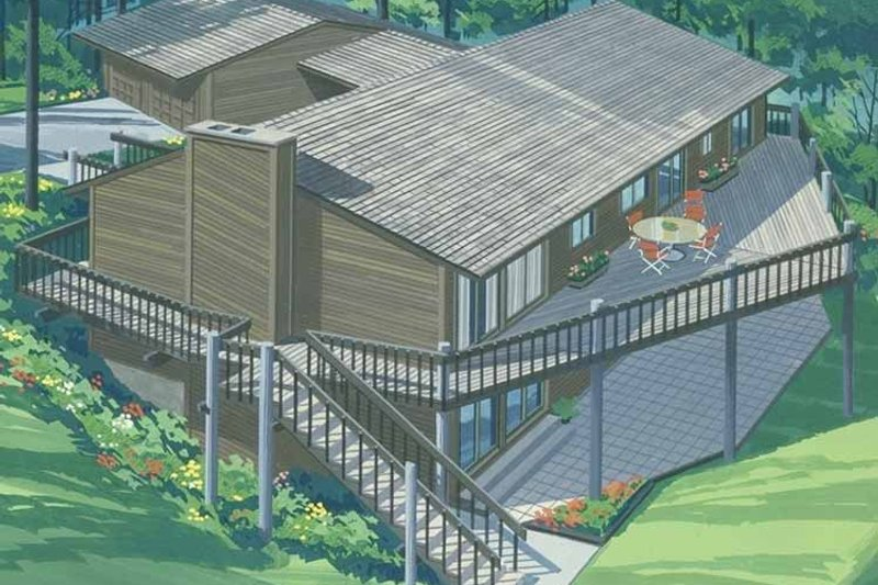 Prairie Exterior - Rear Elevation Plan #320-1337 - Houseplans.com