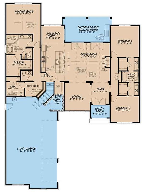 European Floor Plan - Main Floor Plan Plan #17-3398