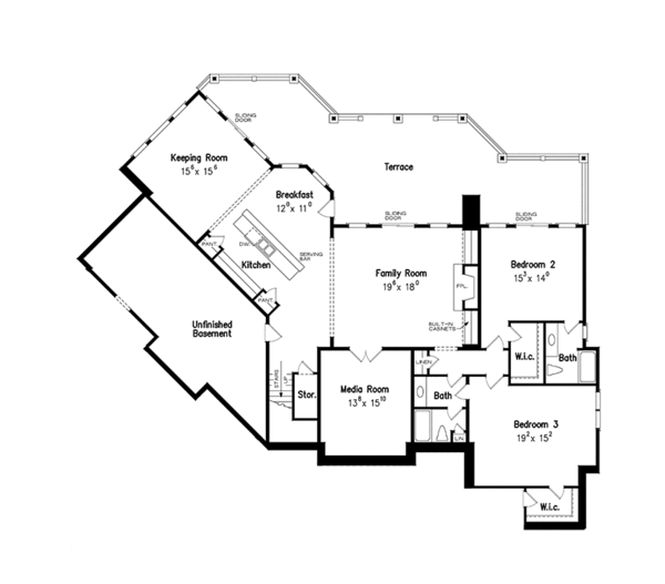 European Floor Plan - Lower Floor Plan Plan #927-966