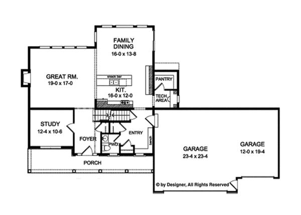 Traditional Floor Plan - Main Floor Plan Plan #1010-135