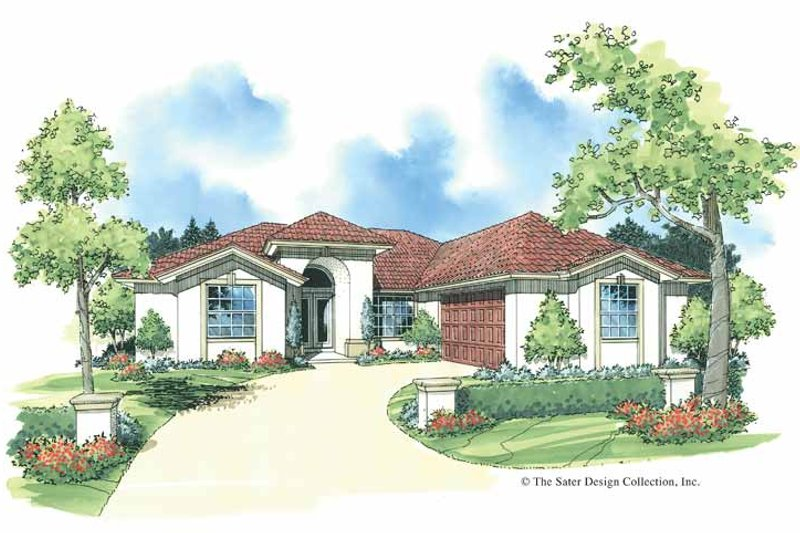 Adobe / Southwestern Exterior - Front Elevation Plan #930-338