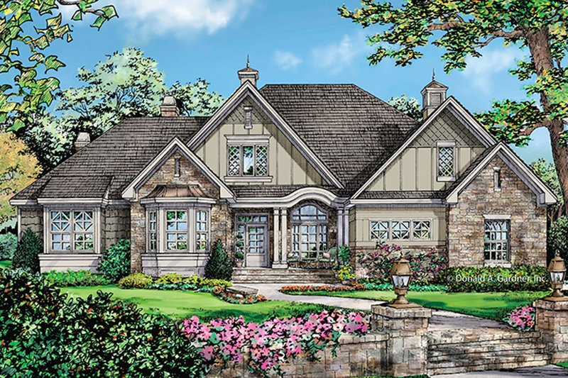 Tudor Exterior - Front Elevation Plan #929-990 - Houseplans.com