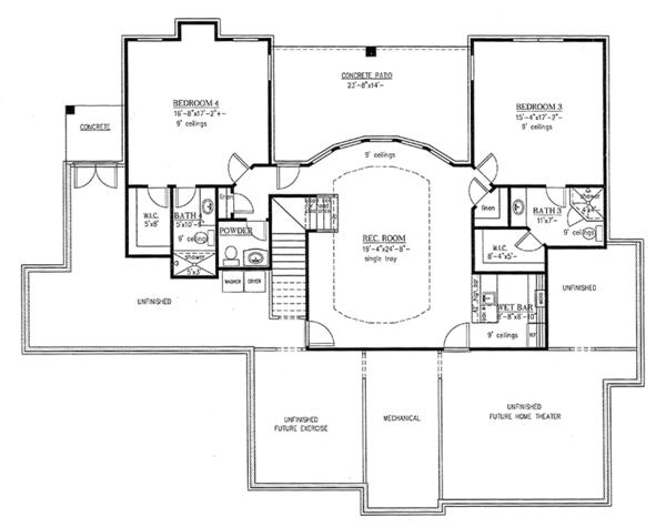 Traditional Floor Plan - Lower Floor Plan Plan #437-73
